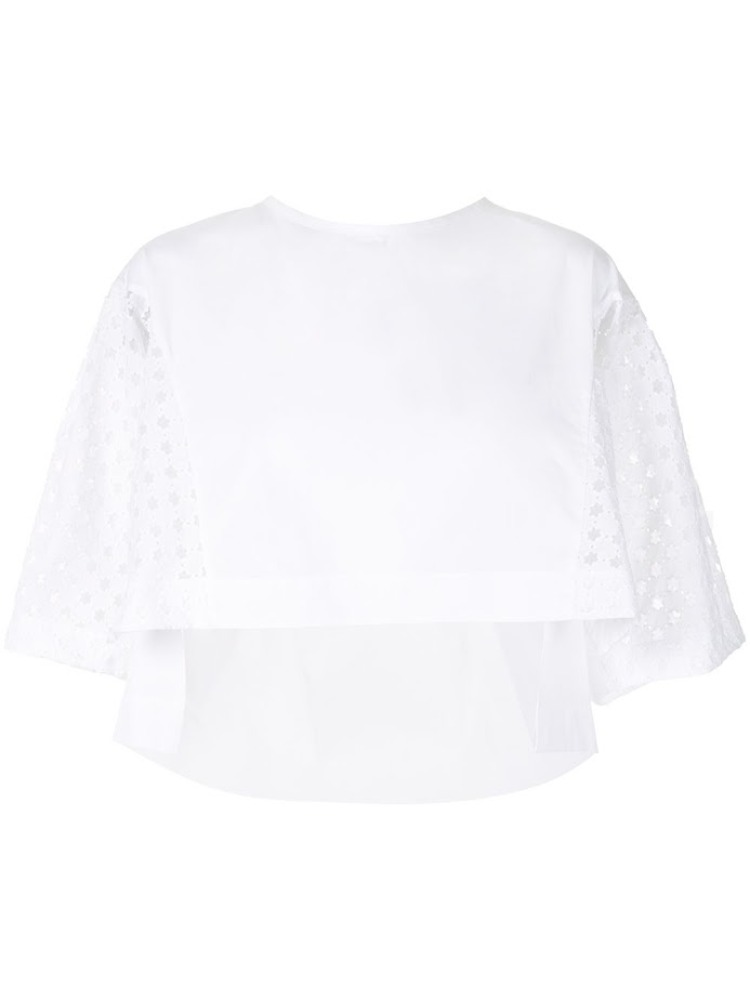 LOOSE-FIT EMBROIDERY COTTON CROP BLOUSE - 아데쿠베