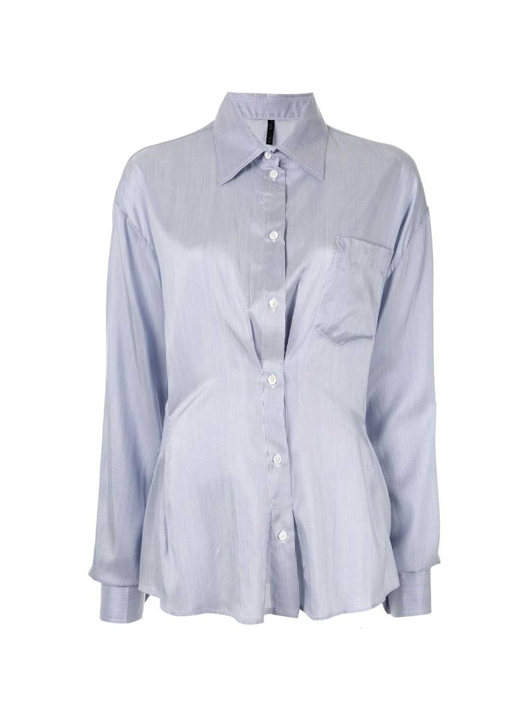 SILK STRIPES THIGHT WAIST SHIRT - 아데쿠베
