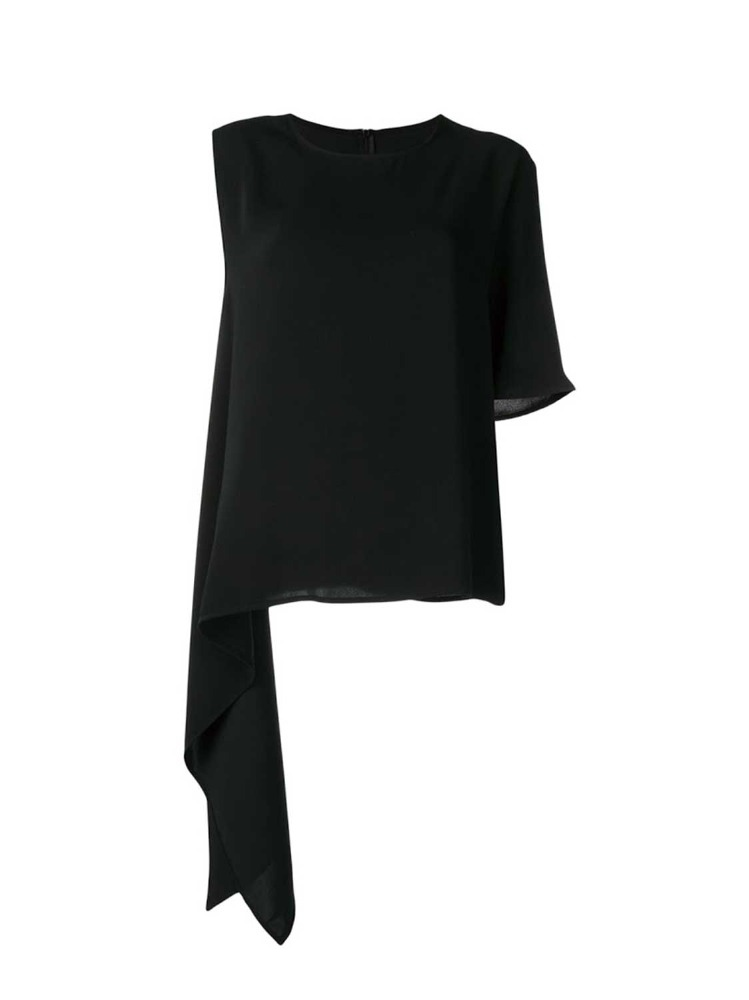 MM6   BLACK ASYMMETRICAL TOP WITH HEM - 아데쿠베