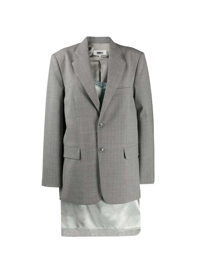 MM6 레이어드 자켓  LIGHT GREY JADE LAYERING BLAZER - 아데쿠베