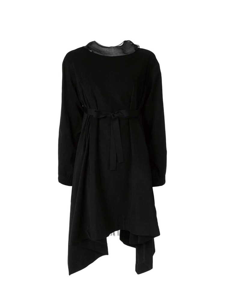 FINE CORDURY BACK PLEATED HOODED DRESS - 아데쿠베