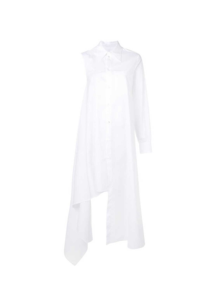 MM6 셔츠 드레스  WHITE ASYMMETRICAL SHIRT DRESS - 아데쿠베