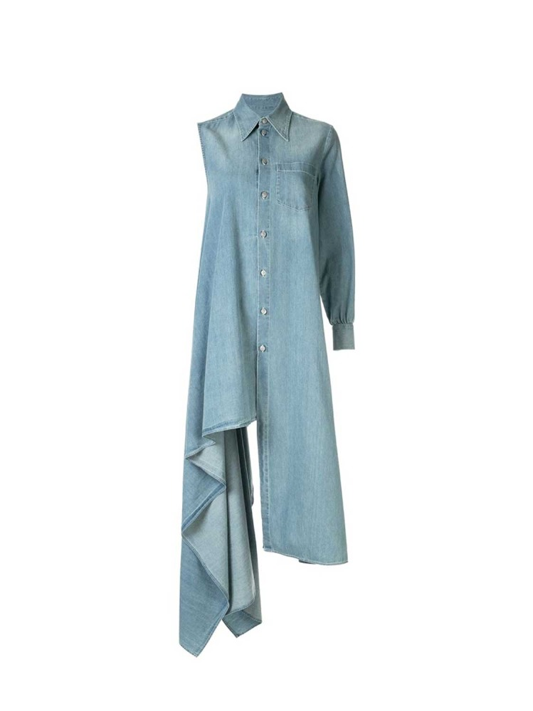 MM6 셔츠 드레스  LIGHT BLUE ASYMMETRICAL SHIRT DRESS - 아데쿠베
