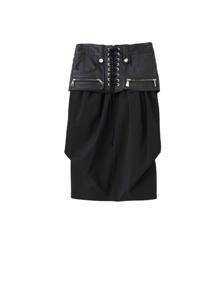 STRETCM LACE LEATH CORS SKIRT - 아데쿠베