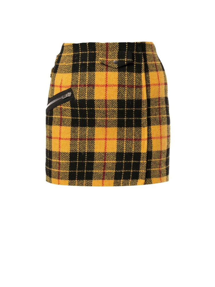 CHECK PATTERN MINI SKIRT - 아데쿠베