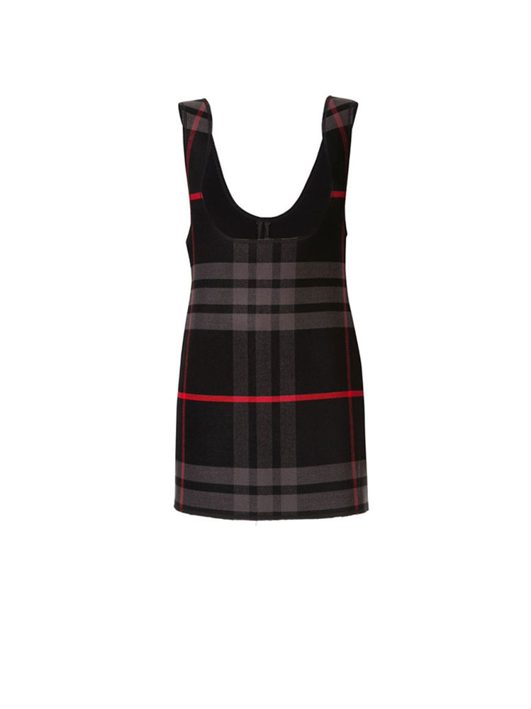 PLAID PLUNGE FRONT DRESS - 아데쿠베