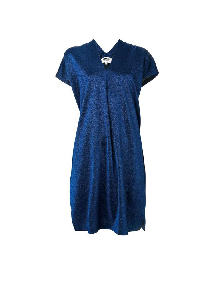 MM6 브이  BLUE OVERSIZED V-NECK HALF SLEEVES MIDI DRESS - 아데쿠베