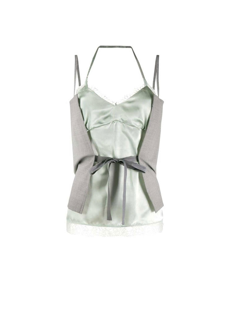 MM6 레이어드 탑  LIGHT GREEN JADE LAYERING TOP - 아데쿠베