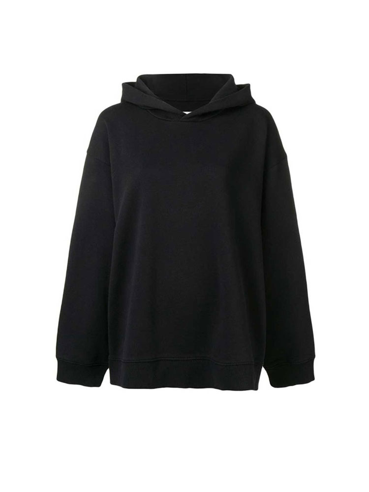 MM6 로고 프린트 후드티  BLACK HOODY WITH ARTICLE - 아데쿠베