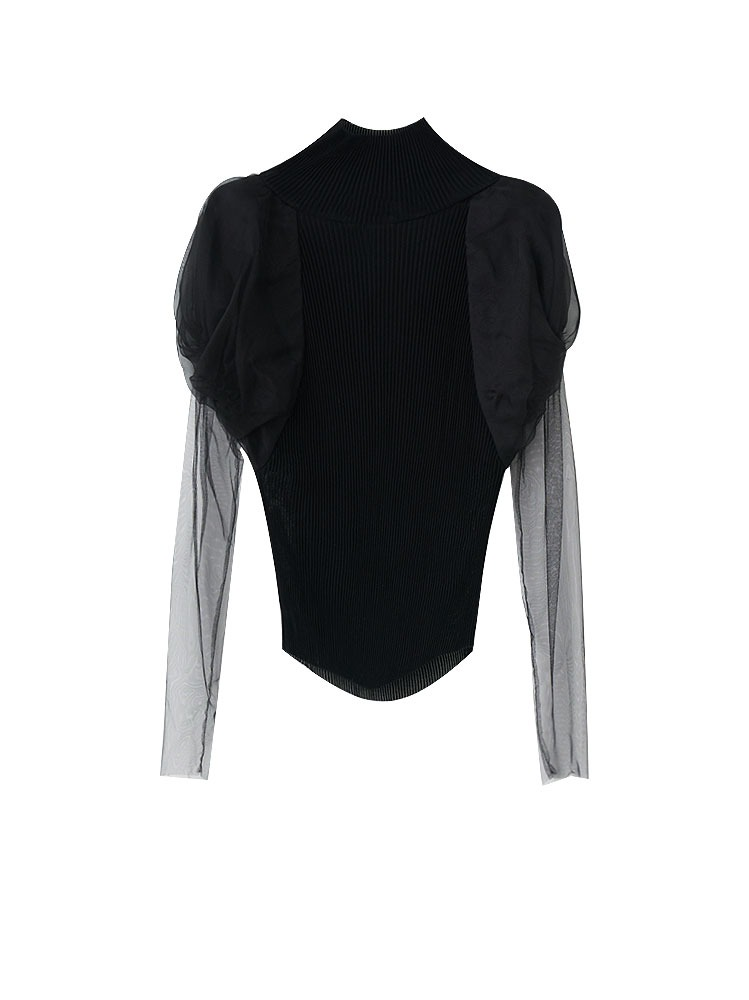 PLEATED JERSEY BALLON SLEEVE TOP - 아데쿠베