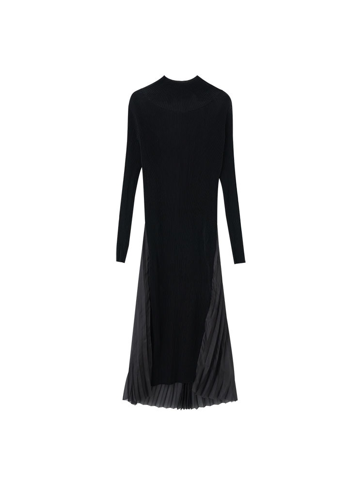 TEXTURED JERSEY DRESS WITH BACK PLEATS - 아데쿠베