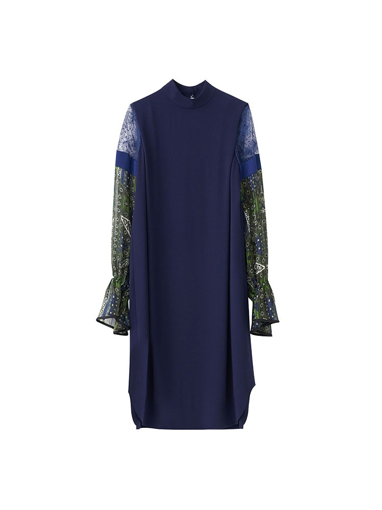 STAINED GLASS PRINTED SLEEVE DRESS (GREEN) - 아데쿠베