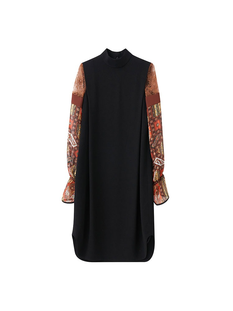 STAINED GLASS PRINTED SLEEVE DRESS (BROWN) - 아데쿠베