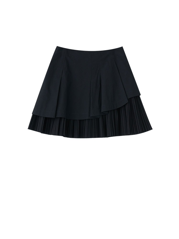 COTTON CASHMERE PLEATED HEM MINI SKIRT - 아데쿠베