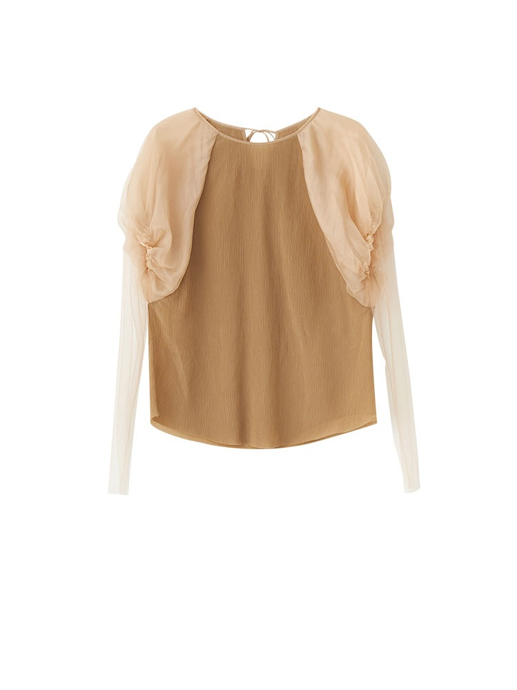 BALLON SLEEVE SILK BLEND TOP - 아데쿠베