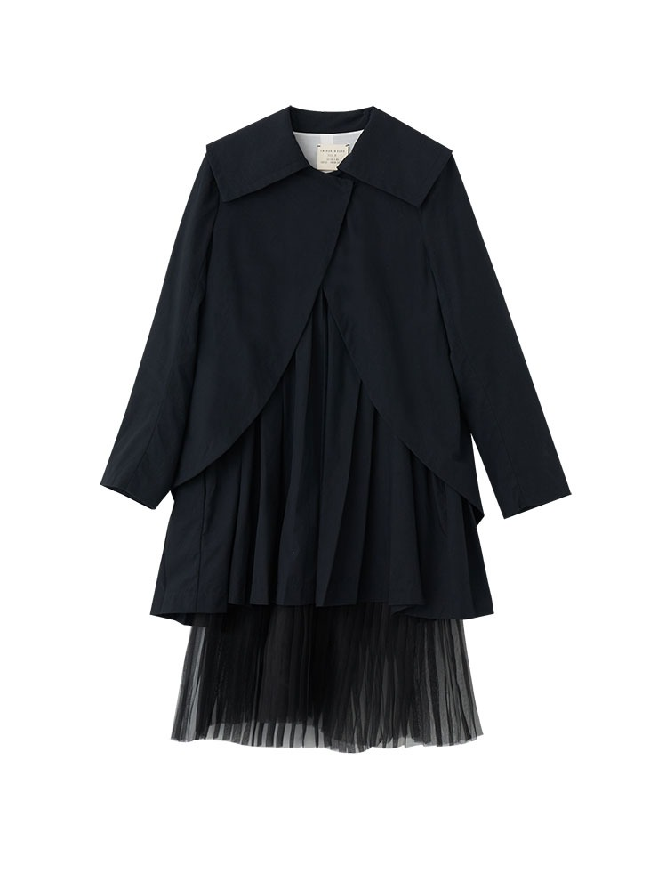 CASHMERE-COTTON OVERLAYED PLEATED JACKET - 아데쿠베