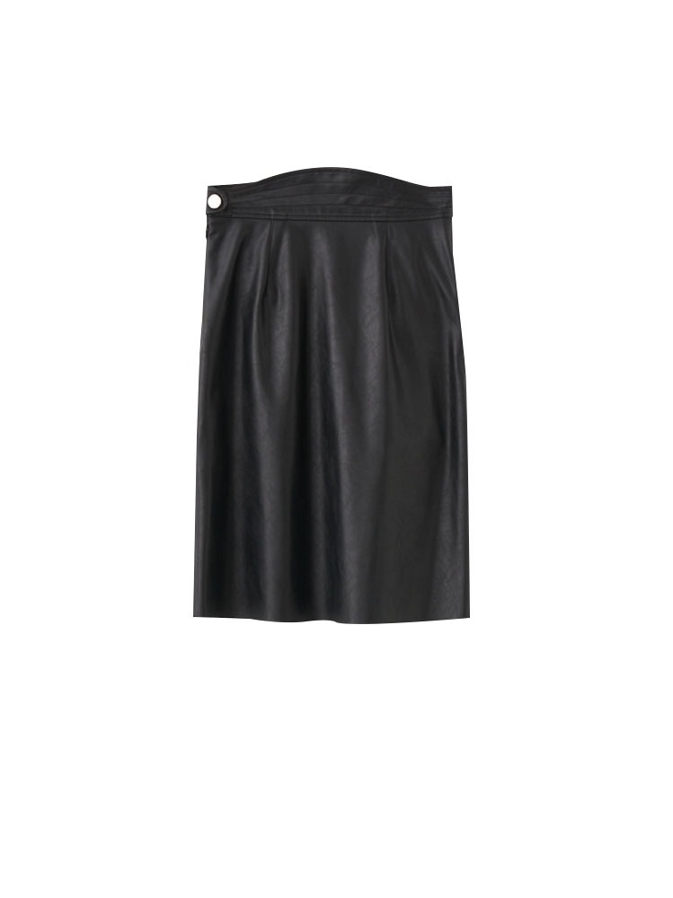 MIA FAUX LEATHER KNEE LENGTH SKIRT - 아데쿠베