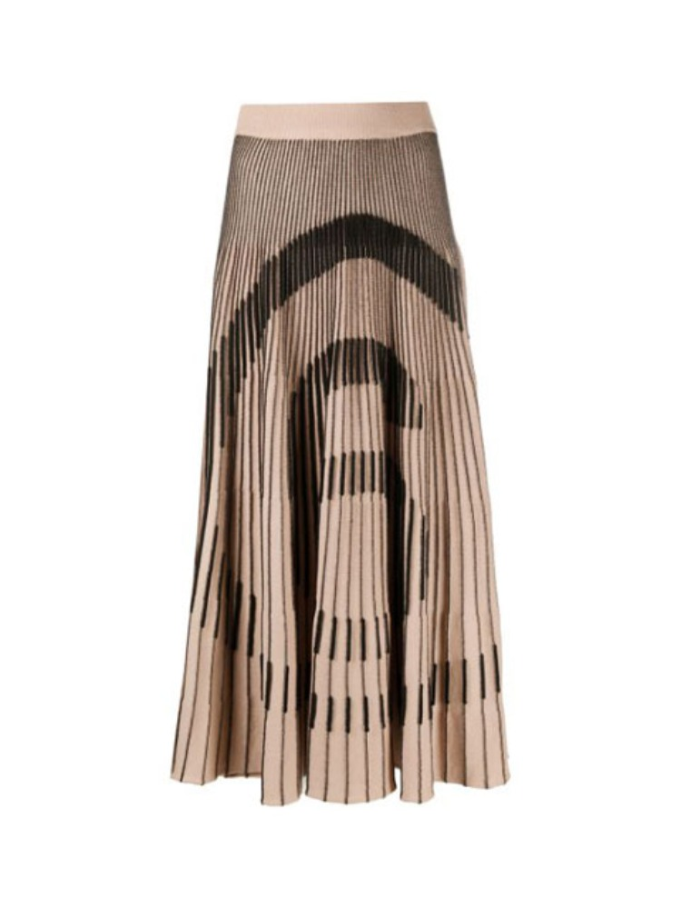 6 LOGO PLEATED MIDI SKIRT - 아데쿠베