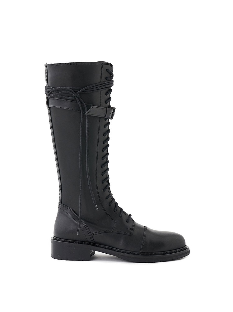 KNEE LENGTH LACE UP LEATHER BOOTS - 아데쿠베