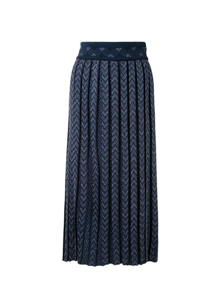 PLEATED KNITTED SKIRT - 아데쿠베