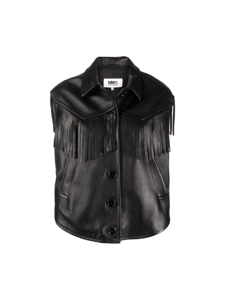 FRINGED SLEEVELESS LEATHER JACKET - 아데쿠베
