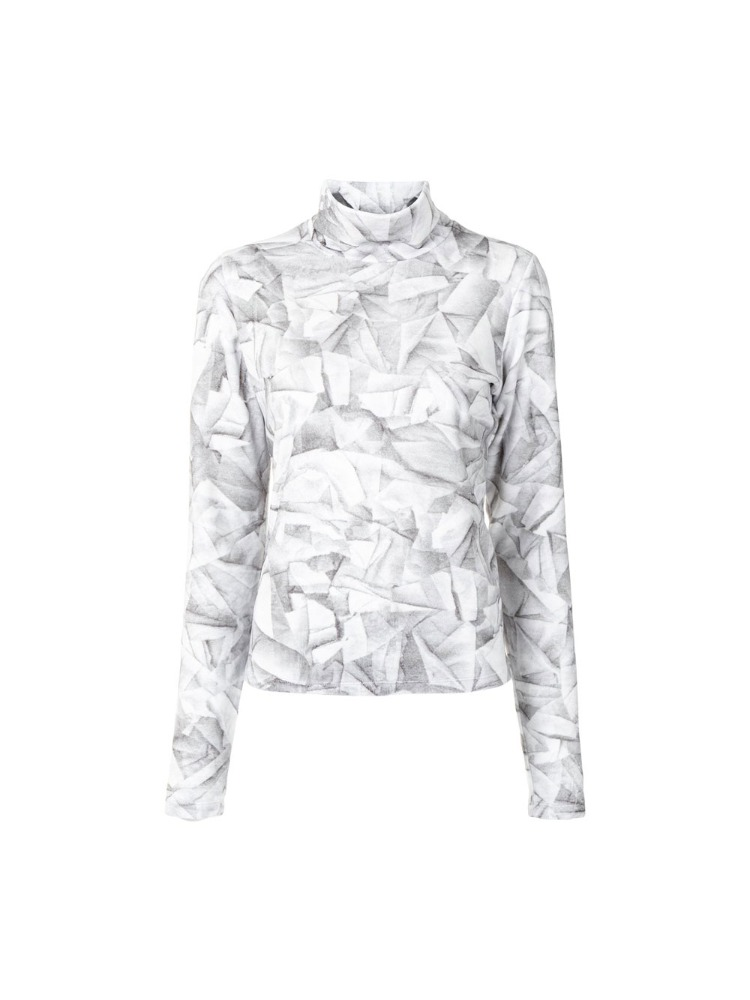 ABSTRACT PRINT TURTLENECK TOP - 아데쿠베