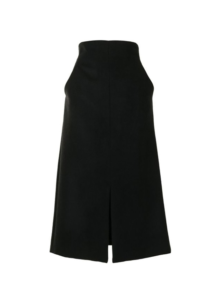 SILK WOOL LONG SKIRT - 아데쿠베