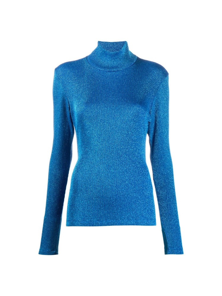 BLUE GLITTER HIGH-NECK PULLOVER - 아데쿠베