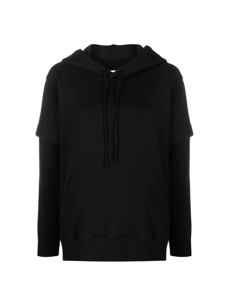 HOODIE WITH RIBBED SLEEVES - 아데쿠베