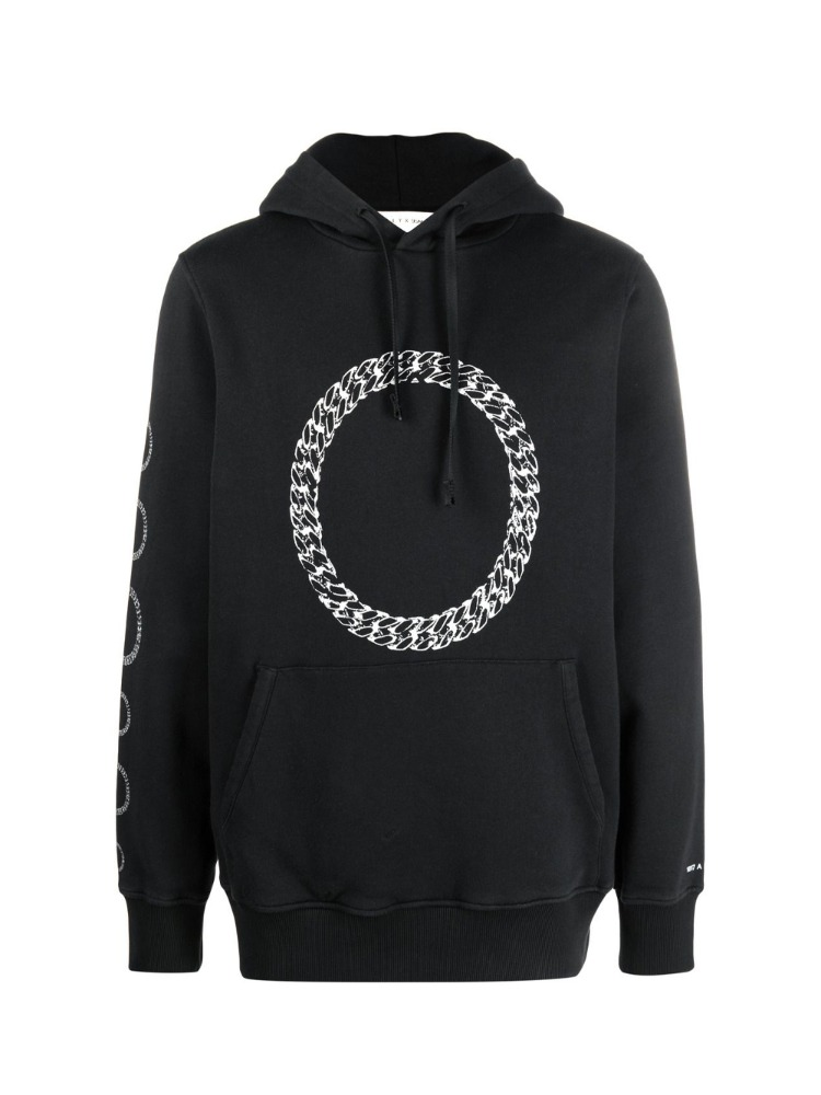 HOODIE WITH CUBE CHAIN GRAPHIC - 아데쿠베